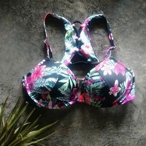 Smart & Sexy Tropical Lace Up Back Bikini Top 36C